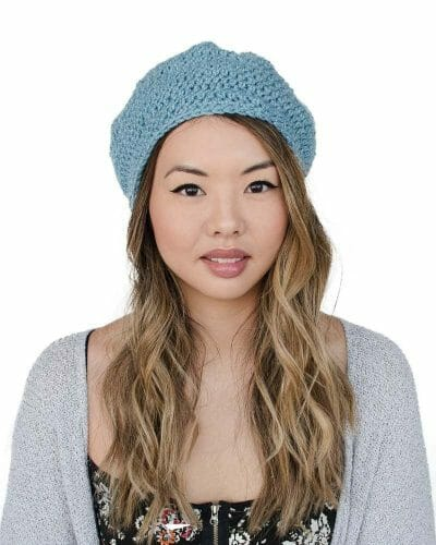 front - Crochet Tam Hat - Blue - 100% Recycled Fibers by Amy Eve Jo