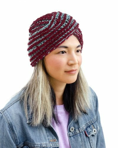 Reversible Two-Sided Knit Turban - right side