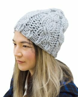 Kindred Cable Knit Hat 60% Recycled - Ice Blue - quarter angle