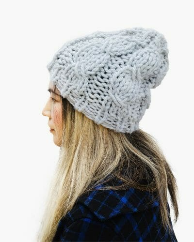 Kindred Cable Knit Hat 60% Recycled - Ice Blue - side angle