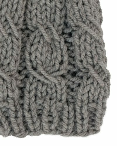 Kindred Cable Knit Hat 60% Recycled - Sage Grey - close-up