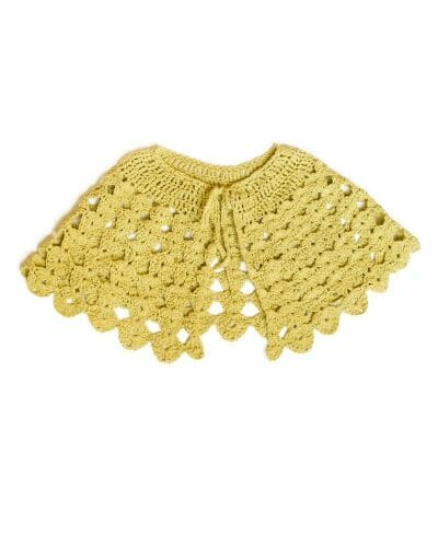 Heather Crochet Capelet (100% Recycled) in Yellow - flat full