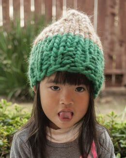 Colorblock Handknit Hat on Toddler Girl (facing forward) - Amy Eve Jo