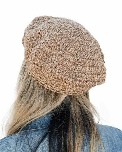Crocheted Brown Tweed Beret by Amy Eve Jo (back)