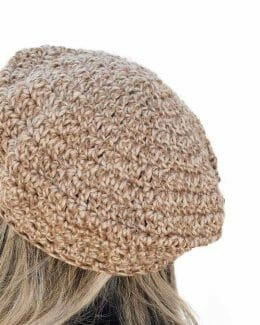 Crocheted Brown Tweed Beret by Amy Eve Jo (back close)