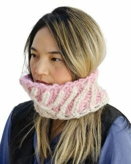 Reversible Diagonal Two-Color Cowl - angled - Amy Eve Jo