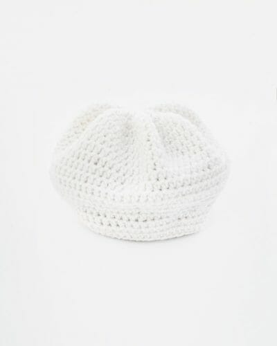 main - Crochet Tam Hat - White - 100% Recycled Fibers by Amy Eve Jo