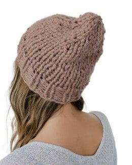 back - Kindred Knit Hat - 60% Recycled Fibers - Rose Copper -- by Amy Eve Jo