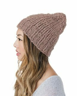 side - Kindred Knit Hat - 60% Recycled Fibers - Rose Copper -- by Amy Eve Jo