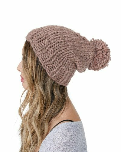 side - Kindred Knit Hat with Pom Pom - 60% Recycled Fibers - Rose Copper - by Amy Eve Jo
