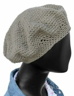 Taupe Beret - 100% Recycled Merino Wool - side - amyevejo.com