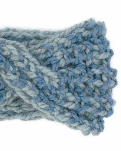 Two Blues Super Bulky Reversible Twist Headband - zoom speckled view